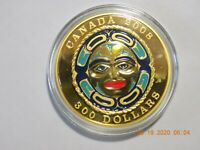 2008 CANADA PROOF GOLD $300 FOUR SEASONS MOON MASK COIN  1.1