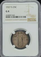 1927-S 25C NGC G4  STANDING LIBERTY QUARTER IN GOOD CONDITION, ATTRACTIVE