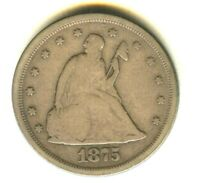 1875 S TWENTY CENT PIECE VF IN GRADE  EARLY SILVER TYPE COIN 100  ORIG 20C