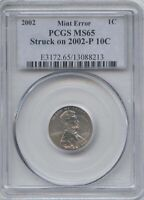 2002 1 DOUBLE DENOM. ON DIME  PCGS MS 65