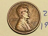 1934-D 1C BN LINCOLN CENT WHEAT CENT 2568K