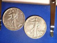 USA 1942 & 1942-S WALKING LIBERTY 50 CENT SILVER COINS