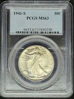 1941-S 50C WALKING LIBERTY HALF DOLLAR PCGS MINT STATE 63 CHOICE BU  ORIGINAL