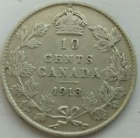 1913 CANADA 10 CENTS KM 23 SILVER COIN LARGE OR BROAD LEAVES
