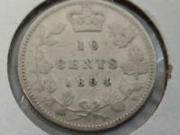 1894 CANADA 10 CENTS KM 3 SILVER COIN