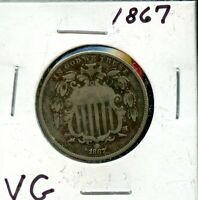 1867 UNITED STATES SHIELD NICKEL 5C COIN EI209