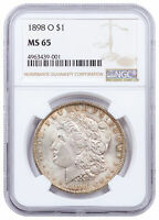 1898 O $1 MORGAN SILVER DOLLAR TONED CPCR NGC MINT STATE 65 MINT STATE 65
