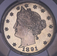 1891 LIBERTY HEAD V NICKEL PROOF PCGS PROOF DETAIL 717616BJR
