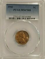 1942 P LINCOLN CENT PCGS MINT STATE 67 RB TOP POP TONED REGISTRY QUALITY
