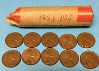 1951 LINCOLN WHEAT CENT ROLL LOT OF 50 1951 D 1951 P 1951 S WHEAT PENNIES ROLL