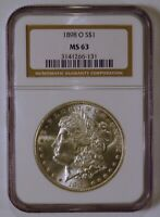 1898-O MORGAN SILVER DOLLAR, NEW ORLEANS MINT, UNCIRCULATED, GRADED MINT STATE 63 BY NGC