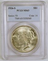 1926-S UNCIRCULATED SILVER PEACE DOLLAR SAN FRANCISCO MINT GRADED MINT STATE 63 BY PCGS