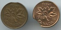 2 PCS. CANDIAN CENTS  CLIPPED PLANCHETS