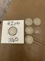 LOT OF 6: 1865 THREE CENT NICKEL X 4, 1868 3 CENT, 1853 HALF DIME