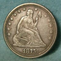 1875 SEATED LIBERTY SILVER QUARTER HIGH GRADE UNITED STATES