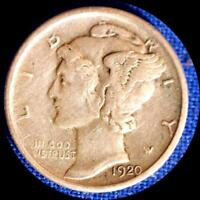 USA 1920 D 10 CENTS MERCURY DIME OLD SILVER COIN FINE