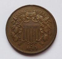 1865 U.S.TWO / 2 CENT PIECE  EXTRA FINE CONDITION