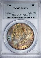 1900 MORGAN SILVER DOLLAR PCGS MINT STATE 63 W/BLUE, MAGENTA AND GOLD TONING