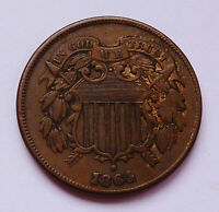 1864 U.S.TWO / 2 CENT PIECE - LARGE MOTTO VARIETY  EXTRA FINE CONDITION