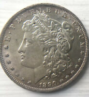 1890-O MORGAN SILVER DOLLAR $1 AU DETAILS- REVERSE SCRATCHED SEE PICTURES