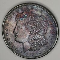 1921 P $1 SILVER MORGAN DOLLAR AU ALMOST UNCIRCULATED BLUE PURPLE GOLD TONED