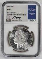 1882 O $1 MORGAN SILVER DOLLAR NGC MINT STATE 63 ED MOY SIGNATURE LOW POP