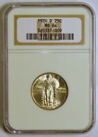 1924-D STANDING LIBERTY SILVER QUARTER FROM THE DENVER MINT GRADED MINT STATE 64 BY NGC