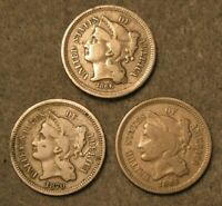 3 PIECE THREE CENT NICKEL UNITED STATES TYPE COIN LOT 1865 1
