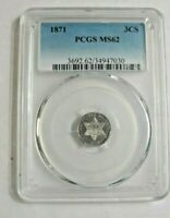 1871  U.S. THREE CENT SILVER COIN PCGS MS62 MIRROR SURFACES