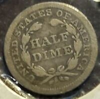 1852 SEATED LIBERTY HALF DIME TYPE 2 - STARS WITH DRAPERY ON OBVERSE