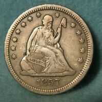1857 SEATED LIBERTY SILVER QUARTER BETTER GRADE UNITED STATE