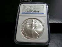 2006-W  BURNISHED  NGC MINT STATE 69 SILVER EAGLE 20TH ANNIVERSARY BLUE LABEL