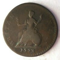1773 GREAT BRITAIN FARTHING    EARLY DATE HIGH VALUE COIN
