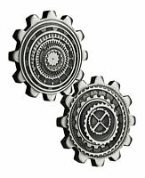 2 COIN SET 2020 TUVALU $1 1 OZ SILVER INDUSTRY IN MOTION GEAR SHAPED ANTIQUED BU