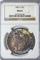 1887-S MORGAN NGC MINT STATE 63 RED, YELLOW AND BLUE TONED SILVER DOLLAR, TOUGHER DATE