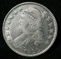 1822 CAPPED BUST SILVER HALF DOLLAR HIGH GRADE UNITED STATES