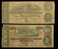 2 PIECE 1863 $5 & 1864 $10 THE CONFEDERATE STATES OF AMERICA