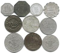 FRANCE LOT OF 10 DIFFERENT FRENCH NOTGELD COINS 5 & 10 CENTIMES 1916   1921