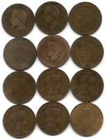 FRANCE LOT OF 12 DIFFERENT 5 CENTIMES COINS 1855   1916 NAPOLEON III & REPUBLIC