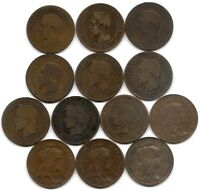 FRANCE LOT OF 13 DIFFERENT 10 CENTIMES COINS 1853   1921 NAPOLEON III & REPUBLIC