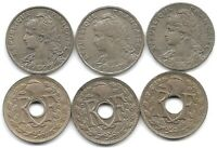 FRANCE LOT OF 6 DIFFERENT 25 CENTIMES COINS 1903 1904 1905 1917 1924 & 1927