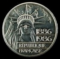 FRANCE SILVER 1986 100 FRANCS COIN PIEDFORT UNCIRCULATED KM P972 STATUE LIBERTY