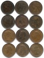 GREAT BRITAIN LOT OF 12 DIFFERENT FARTHING COINS 1861   1955 SOME HIGHER GRADE