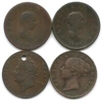 GREAT BRITAIN LOT OF 4 HALF PENNY COINS 1806 1807 1826 1853