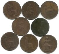 GREAT BRITAIN LOT OF 8 HALF PENNY COINS 1861 1962 1877 1885 1888 1890 1891 1897