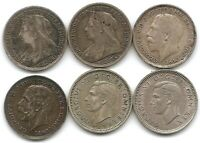 GREAT BRITAIN LOT OF 6 SILVER 3 PENCE COINS 1897 1898 1917 1