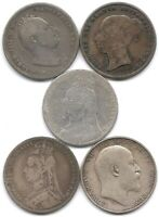 GREAT BRITAIN LOT OF 5 SILVER SHILLING COINS 1834 1839 1889 1890 & 1906