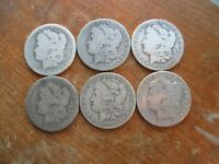 LOT OF 6 BETTER DATE NEW ORLEANS MINT 1886-O  MORGAN SILVER DOLLARS LOWER GRADE