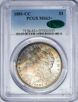 1881-CC MORGAN PCGS MINT STATE 63 CAC-VERIFIED RAINBOW-TONED SILVER DOLLAR GEM