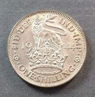 GREAT BRITAIN   GEORGE VI SILVER ONE SHILLING 1944 TONED